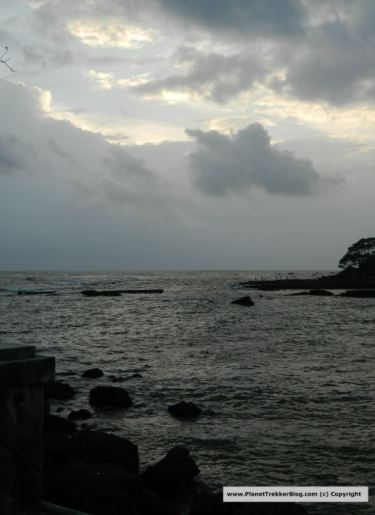 Rocky shores on which the Jetty is built