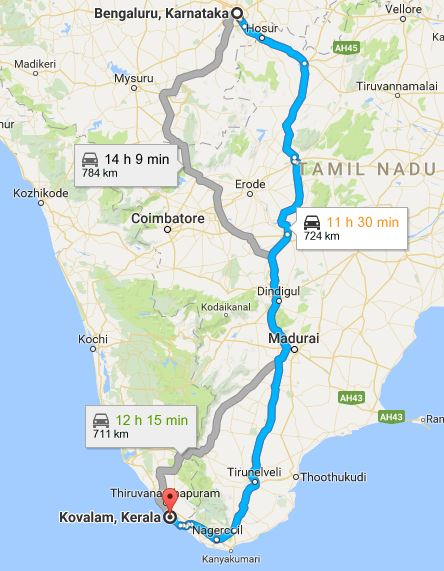 bangalore-to-kovalam-map