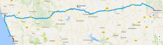Bangalore to Bekal via Mangalore