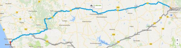 Bangalore to Bekal via Subramanya