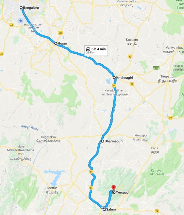 Route - Bangalore to Yercaud